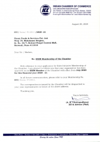 EXIM Membership of the <br> India Chamber of Commerce